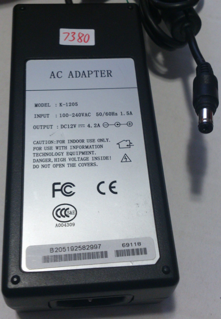 K-1205 AC ADAPTER 12VDC 4.2A -(+)- 2x5.5x9.5mm Round Barrel USED