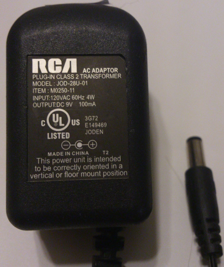 RCA JOD-28U-01 AC ADAPTER 9VDC 100mA USED 2x5.5x12mm -(+)-