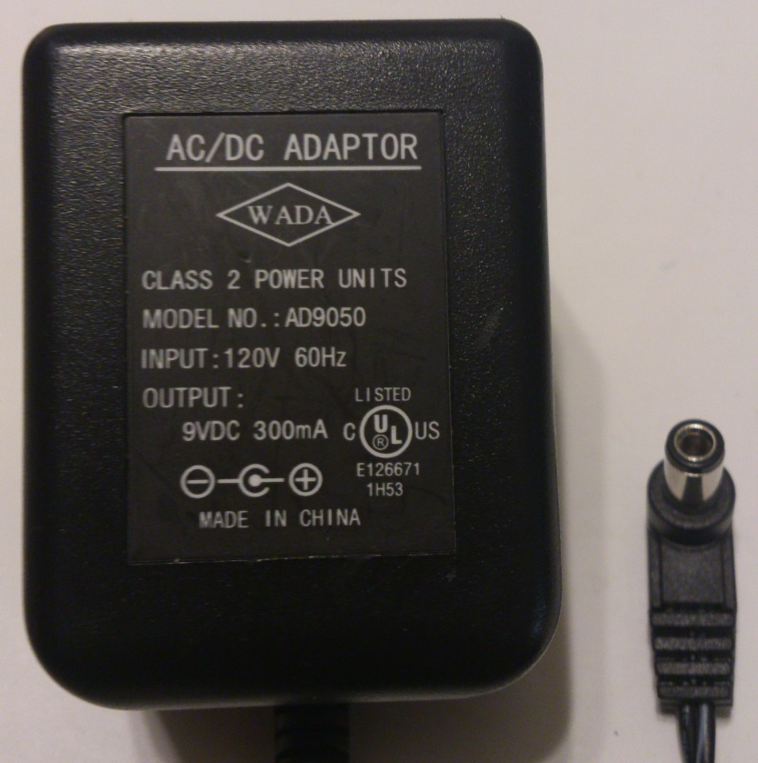 WADA AD9050 AC ADAPTER 9VDC 300mA USED 2x5.5x10mm -(+)-